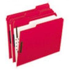 Desk Supplies>Desk Set / Conference Room Set>Holders> Files & Letter holders: Colored Folders With Embossed Fasteners, 1/3 Cut, Letter, Red/Grid Interior