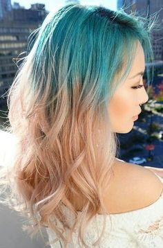 Blue ombre dyed hair color