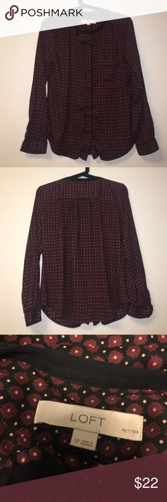 Loft floral top Like new maroon floral top with details. Chiffon material, classy and stretchy material LOFT Tops Blouses