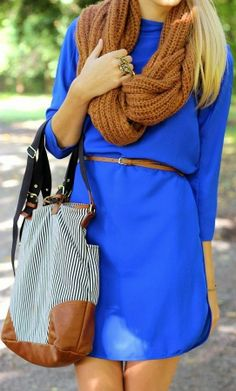Cobalt blue date dress, oversized bag, and scarf
