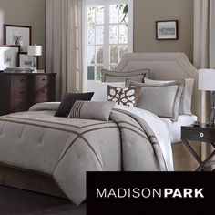 Master bedroom  @Overstock - This modern seven-piece comforter set by Madison Park gives your bedroom a sleek, contemporary look. The set includes a comforter, bedskirt, three decorative pillows, and two shams in neutral colors. The bedding is made from machine washable polyester.http://www.overstock.com/Bedding-Bath/Madison-Park-Easton-7-piece-Comforter-Set/5416143/product.html?CID=214117 $79.99