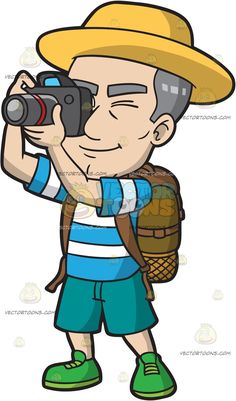 A Mature Male Tourist Snapping Photos :  A mature man with gray hair wearing a yellow hat striped blue and white shirt teal shorts green shoes brown backpack shuts his left eye while taking a photo using the gray with red camera in his hands  The post A Mature Male Tourist Snapping Photos appeared first on VectorToons.com.