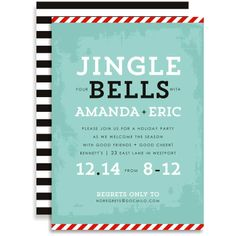 Jingle Your Bells - Pale Blue Invitation #holiday #party #invitation