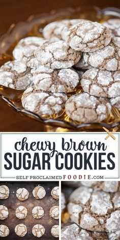 Brown butter and brown sugar make these soft cookies with a sweet crackle outside coating a favorite! They're easy to make and are packed with amazing rich flavor. #cookies #brownsugar #brownbutter #recipe #homemade #easy Oatmeal No Bake Cookies, Almond Joy Cookies, Brown Sugar Cookies, Chocolate Chip Cookies, Blueberry Dump Cakes, Blueberry Cookies, Lemon Cookies, Easy Cookie Recipes, Homemade Desserts