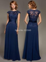 Online Shop Cheap Dark Navy Blue Lace Cap Sleeve Chiffon Floor-Length Evenig Gown Mother Of The Bride Dresses Party Dress 2015|Aliexpress Mobile