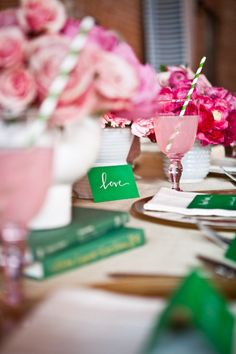 kelly green, pale pink, white - really love the green striped straws too!!