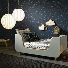scandi monochrome kids bedroom // I love the dark sky wallpaper and cloud mirrors.