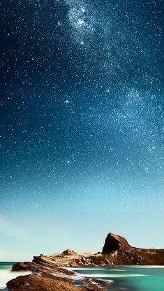 Shiny Milky Outer Space Over Sea #Phone #5s #wallpaper