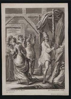 [Don Quijote derrota a los cueros de vino]. Gucht, Gerard Van der 1696-1776 — Grabado — 1738