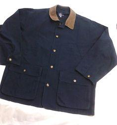 LANDS END Blue Cotton Jacket, Leather Collar, Large #LandsEnd #BasicJacket