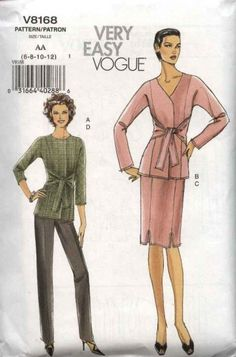 PATTERN Vogue 8168 Size Fitted shaped jacket with front tie sash tapered skirt and pants (uncut) Skirt Pants, Skirt Suit, Vogue Sewing Patterns, Latest Hairstyles, Tunic Tops, Suits, Sash, Fitness, Jackets
