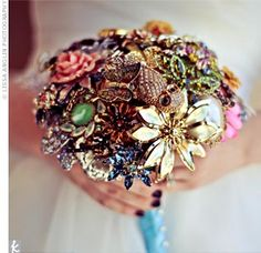 bouquet was made from a watch, brooches from five generations of his family and an owl ring.