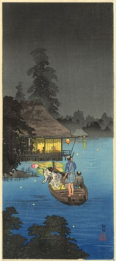 Shotei (1871-1945) - Hunting fireflies in cool breeze (M-21) - listed as #220 in the Watanabe 1936 catalog, Hiroaki signature