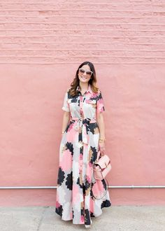Floral Maxi Shirt Dress {also loving this one and this one}  Mini Uptown Satchel {c/o} // Tan Suede Carrson Sandals {last worn in this post}  Pink Genice Cateye Sunglasses {c/o} // Cortina Cuff // Stud Earrings
