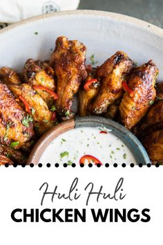 A sweet heat saucy wing dipped in a cool zesty citrus yogurt dipping sauce. What else would you like from a plate of wings?! #appetizers #chicken #easyrecipes Huli Huli Chicken, Tandoori Chicken, Mexican Food Recipes, Dinner Recipes, Ethnic Recipes, Easy Recipes, Easy Meals, Batch Cooking, Weeknight Dinners