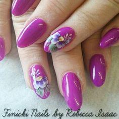 Purple gel with onestroke flowers