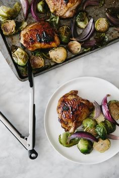 (gluten-free, paleo) Roasted balsamic chicken and brussels sprouts. An easy, healthy, one pan recipe that's sure to be a family favorite. Healthy Pizza, Healthy Meals For Two, Healthy Dinner Recipes, Paleo Recipes, Real Food Recipes, Healthy Snacks, Healthy Eating, Fancy Recipes, Paleo Meals