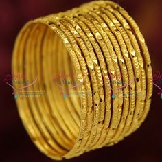 Gold Plated 12 Pieces Bangles Set Party Wear Long Colour Life Online This set bangles contains 12 pieces of thin 2 mm wide gold plated bangles. Smoothly finished and looks like gold bangles. Base metal is copper and plating colour is gold. Gold Ring Designs, Gold Bangles Design, Gold Earrings Designs, Gold Jewellery Design, Gold Jewelry, Gold Bangle Bracelet, Bangle Set, Bracelets, Bridal Bangles