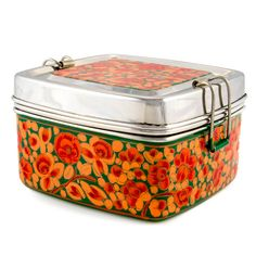 Green and Red Handpainted Square Tiffin