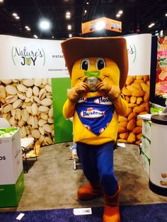 The Hostess Twinkie stopped by the Nature's Joy booth at the Sweets and Snack Expo to get a healthy snack to keep him going throughout the whole show.
