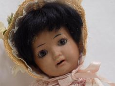 CUTE!!! Antique German Schoenau & Hoffmeister Hanna Doll Black Brown from mylittledolls2 on Ruby Lane