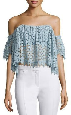 Off-the-shoulder and crochet? We love this Tularosa top!