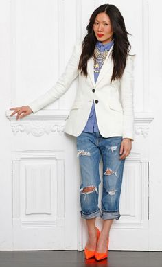 Chambray shirt, white blazer, boyfriend jeans, neon shoes and pearls!