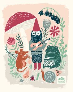 linocut, gnome, illustration, linocut art, printmaking, ink print repeat, woodland