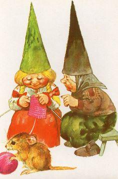 Vintage  Postcard Gnome Elf  Lisa from Rien Poortvliet knitting http://www.aroundthefirepit.com