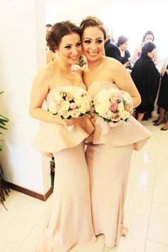 peplum bridesmaid dresses, i love the smoky eye paired with the pale pink outfits