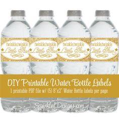twinkle twinkle little star theme Printables | Twinkle Little Star Printable Water Bottle Labels - Gold Glitter ...