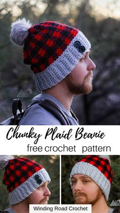 Chunky plaid beanie works up quick and easy. Free pattern by Winding Road Crochet. Crochet Mens Hat Pattern, Mens Crochet Beanie, Disney Crochet Patterns, Chunky Crochet Hat, Plaid Crochet, Crochet Ripple, Crochet Cap, Quick Crochet, Free Crochet