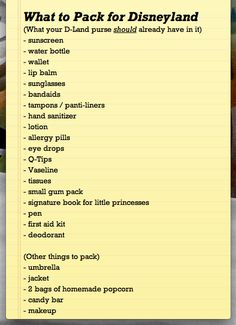 What to have in your purse/backpack at Disneyland.. Also, rent a $10 locker to hold lunch , extra snacks and such.