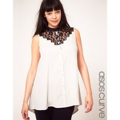Asos Curve Exclusive Sleeveless Shirt With Lace Yoke via Polyvore