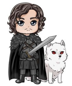 Jon Snow n Ghost chibi by on DeviantArt Game Of Thrones Cartoon, Dessin Game Of Thrones, Game Of Thrones Drawings, Game Of Thrones Artwork, Game Of Thrones Books, Bolo Game Of Thrones, Jon Schnee, Jon Snow, Chibi