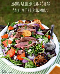Lemon Grilled Flank Steak Salad with Persimmons - an easy, healthy salad that's perfect for summer outdoor entertaining - thefitfork.com