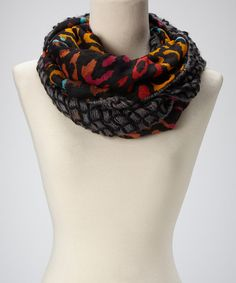 Look what I found on #zulily! Black Leopard & Netting Infinity Scarf by David & Young #zulilyfinds