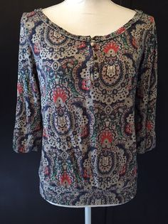 Lucky Brand Small Floral Blue Red & Ivory Cream Elastic Peasant Top Size S #LuckyBrand #Blouse #Casual