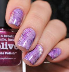 mitty fan brush purple nail art