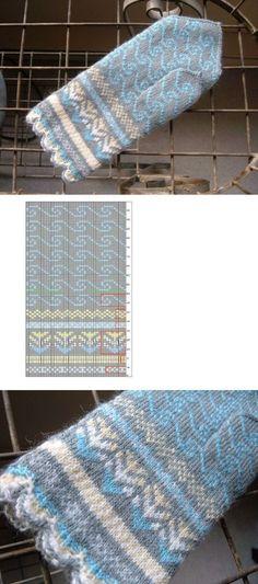 Blue море' by SpillyJane Crochet Mittens Free Pattern, Loom Knitting Patterns, Knitting Charts, Crochet Chart, Knitting Stitches, Stitch Patterns, Knitting Tutorials, Hat Patterns, Crochet Granny