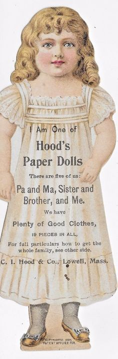 HOOD'S PAPER DOLL~ Pill Promotion,  Antique LITHO, Victorian Advertising c.1894