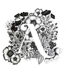 Lámina de la letra A con fondo floral. Gran regalo! Me mensajes para las personalizaciones o piezas de encargadas.  Tinta blanco y negro, más letras del alfabeto muy pronto.