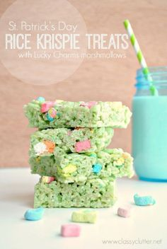 St. Patricks Day Rice Krispie Treats with Lucky Charms Marshmallows - 14 Saint Patrick's Party Food Ideas | GleamItUp