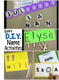 Young children LOVE to see their names in print. Use these simple, homemade name activities to help them learn to spell their names. via @PlayToLearnPS