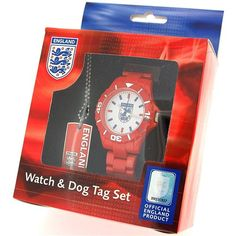 England Crest Official Boys Red Analogue Sports Watch & Dog Tag Gift Set BM14