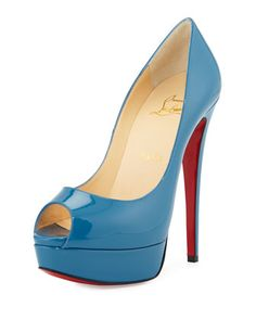 Lady Peep Patent Platform Red Sole Pump, Blue by Christian Louboutin at Neiman Marcus.
