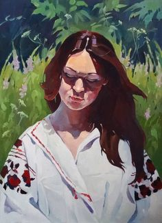 Buy Dreams, a Oil on Canvas by Anastasia Yaroshevich from Ukraine. It portrays: Portrait, relevant to:  face,  flowers,  landscape,  portrait Of A girl,  pictorial art Portrait of a dreaming girl in the Ukrainian national clothes. Self-portrait.