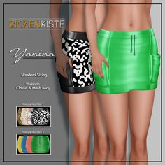 "Zickenkiste just released  "" YANINA"" a cargo styled skirts Available in 2 different set (Texture HUD) Skirts is on standard sizing but it works on mesh body too You just need weak a bit…"