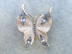 Vintage Signed Trifari Butterfly brooch brushed gold tone and rhinestones AB552 #Trifari