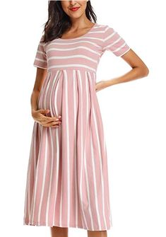 Women's Casual Striped Maternity Dress, Short Sleeve Knee Length Pregnancy Clothes for Baby Shower, super cute pregnancy fashion, Sewing Maternity Clothes, Maternity Dress Outfits, Plus Size Maternity Dresses, Dresses For Pregnant Women, Maternity Wear, Maternity Fashion, Pregnancy Clothes, Pregnancy Fashion, Maternity Style